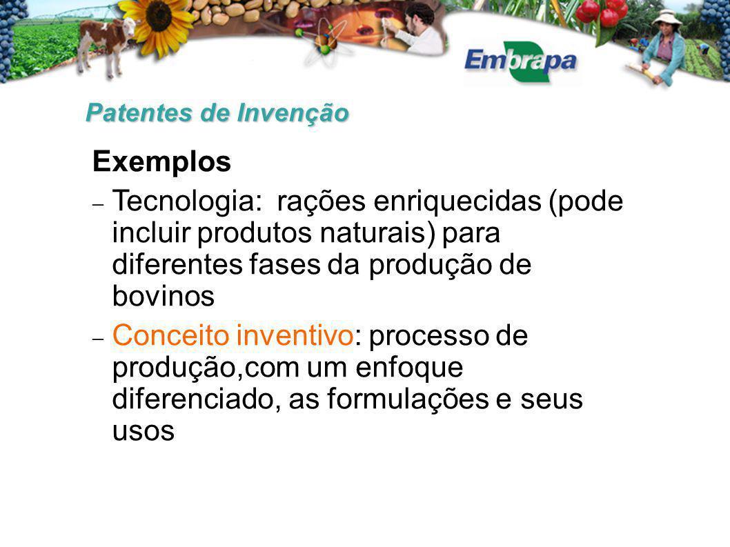 Patentes de Invenção Exemplos. Tecnologia: rações enriquecidas (pode incluir produtos naturais) para diferentes fases da produção de bovinos.