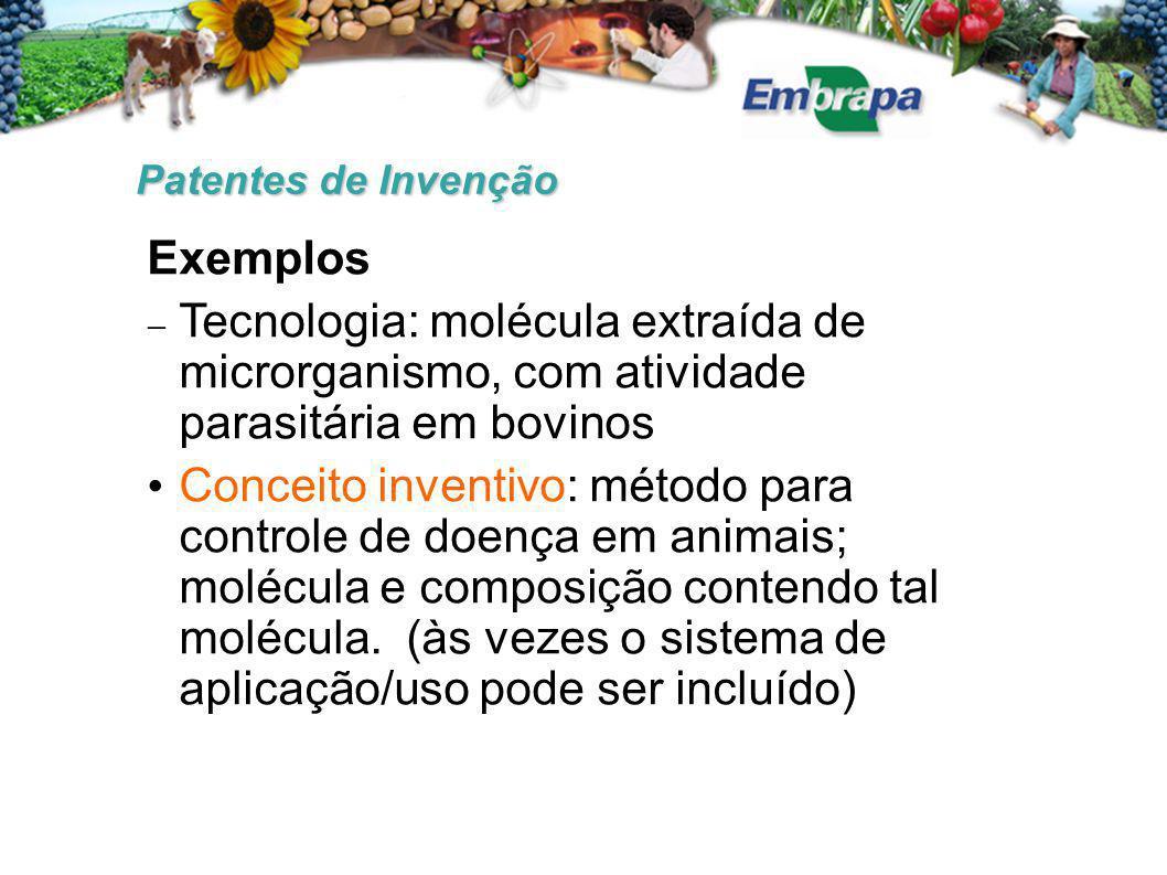 Patentes de Invenção Exemplos. Tecnologia: molécula extraída de microrganismo, com atividade parasitária em bovinos.