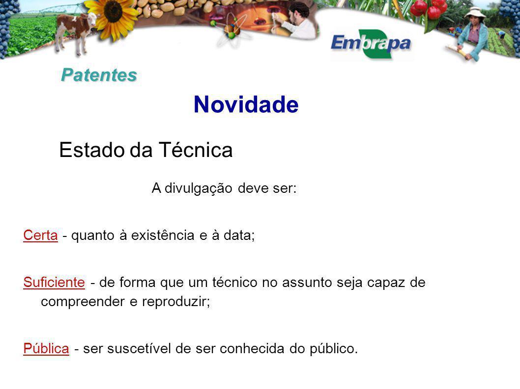 Novidade Estado da Técnica Patentes A divulgação deve ser: