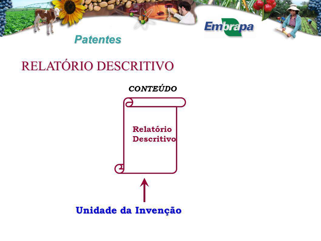 RELATÓRIO DESCRITIVO Patentes Unidade da Invenção CONTEÚDO