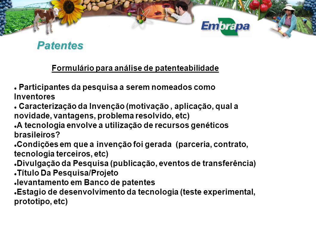 Formulário para análise de patenteabilidade