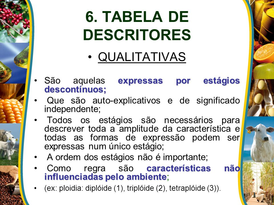6. TABELA DE DESCRITORES QUALITATIVAS
