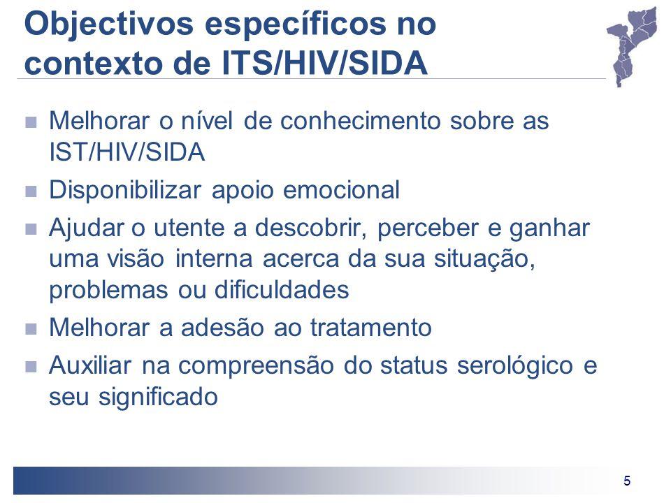 Objectivos específicos no contexto de ITS/HIV/SIDA