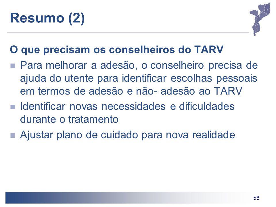 Resumo (2) O que precisam os conselheiros do TARV