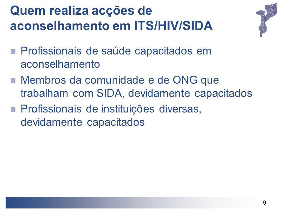 Quem realiza acções de aconselhamento em ITS/HIV/SIDA