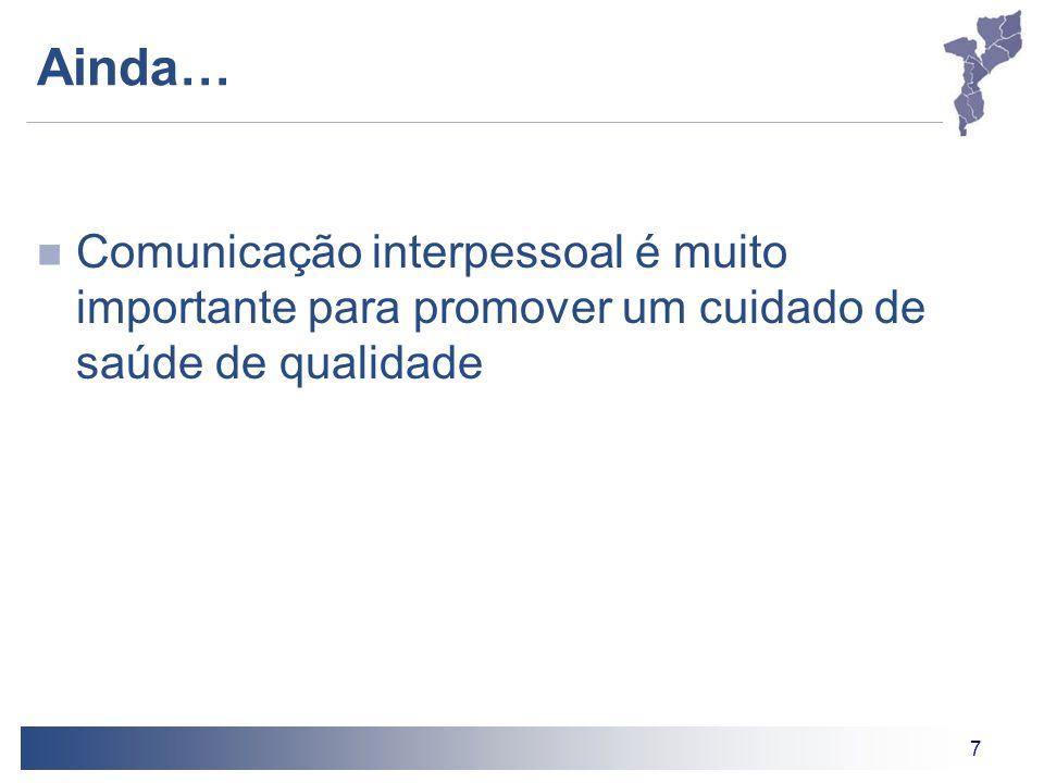 Ainda… Comunicação interpessoal é muito importante para promover um cuidado de saúde de qualidade. Pontos de Discussão.