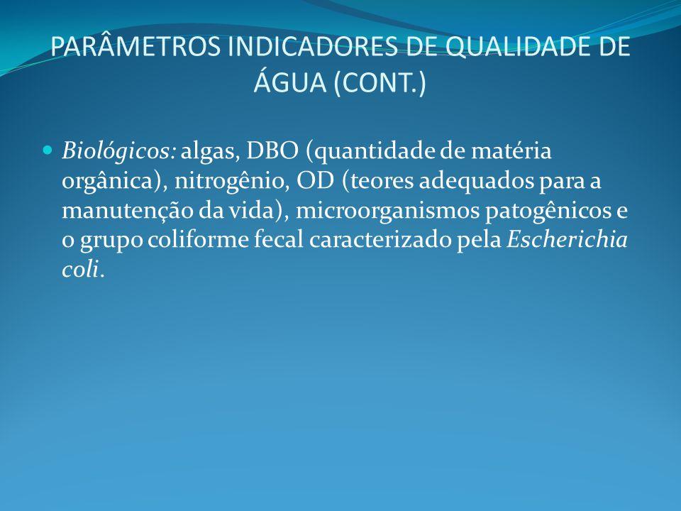 PARÂMETROS INDICADORES DE QUALIDADE DE ÁGUA (CONT.)