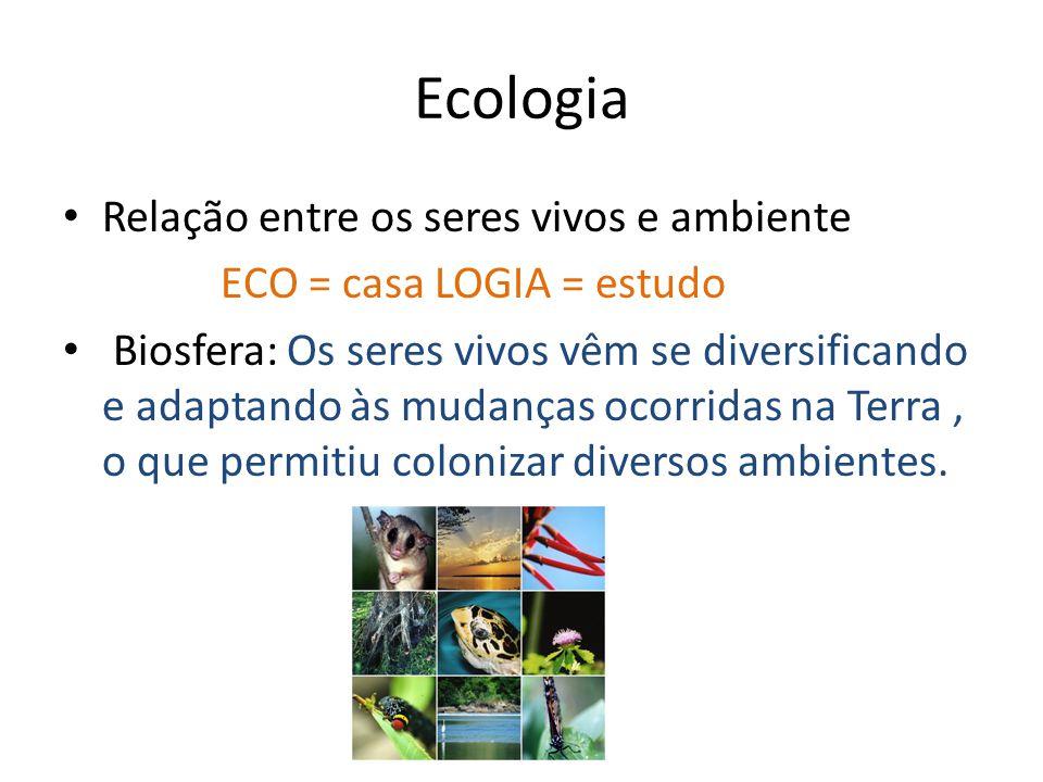 Ecologia Relação entre os seres vivos e ambiente