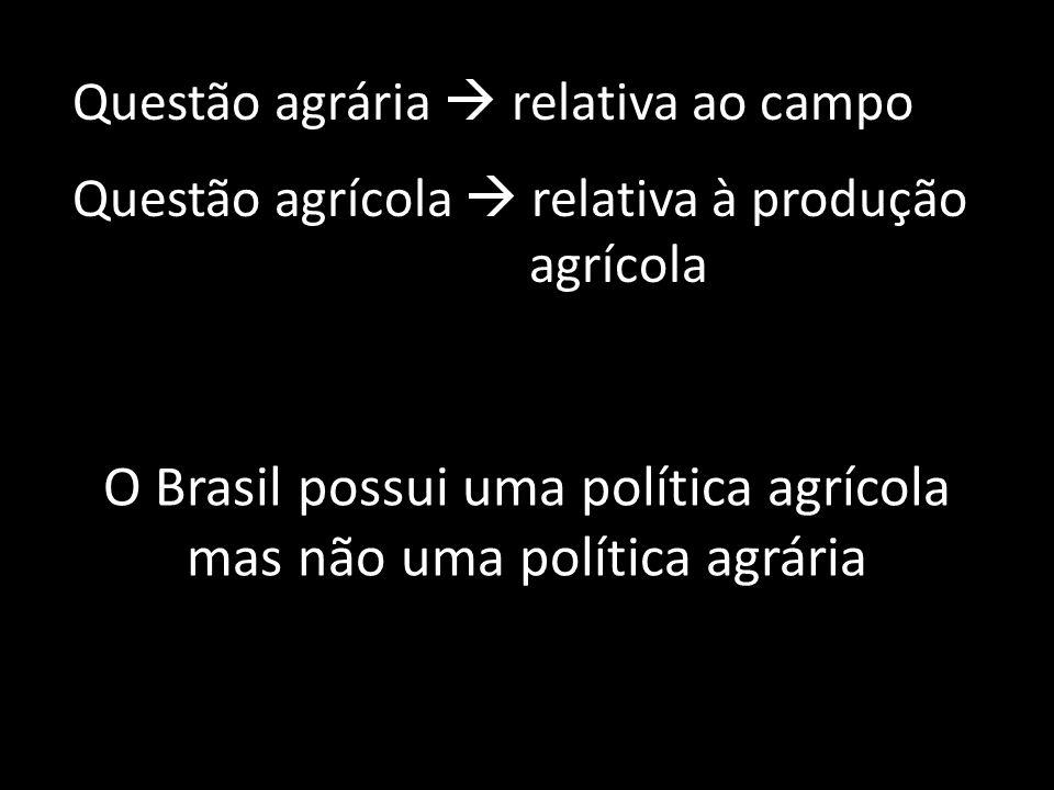 O Brasil possui uma política agrícola mas não uma política agrária