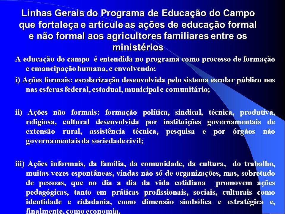 Linhas Gerais do Programa de Educação do Campo que fortaleça e articule as ações de educação formal e não formal aos agricultores familiares entre os ministérios