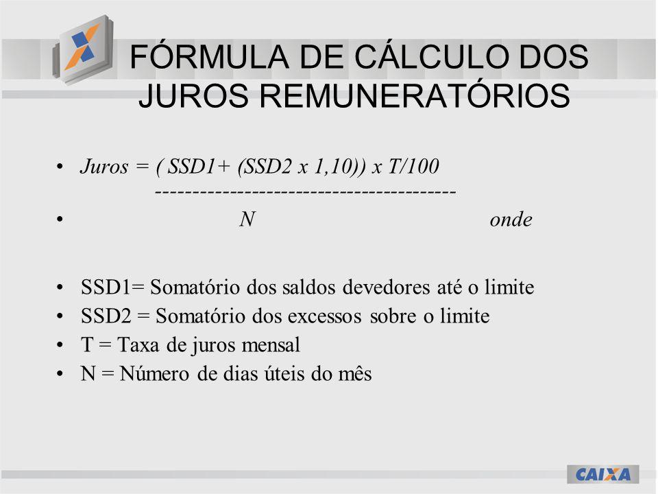 FÓRMULA DE CÁLCULO DOS JUROS REMUNERATÓRIOS