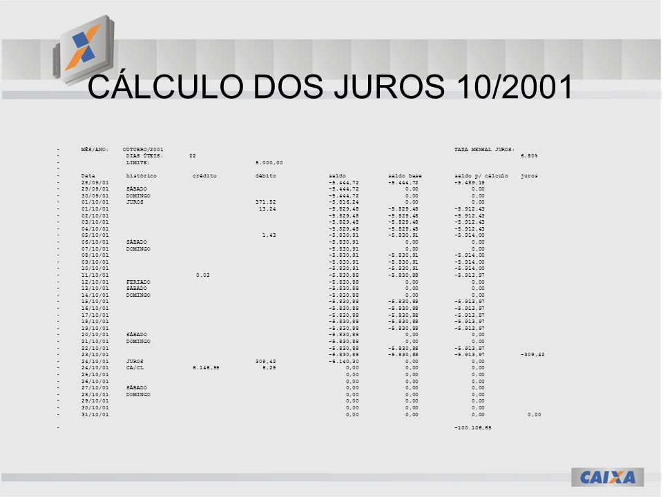 CÁLCULO DOS JUROS 10/2001 MÊS/ANO: OUTUBRO/2001 TAXA MENSAL JUROS: