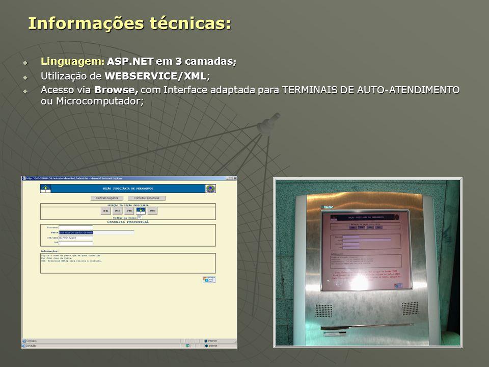 Informações técnicas: