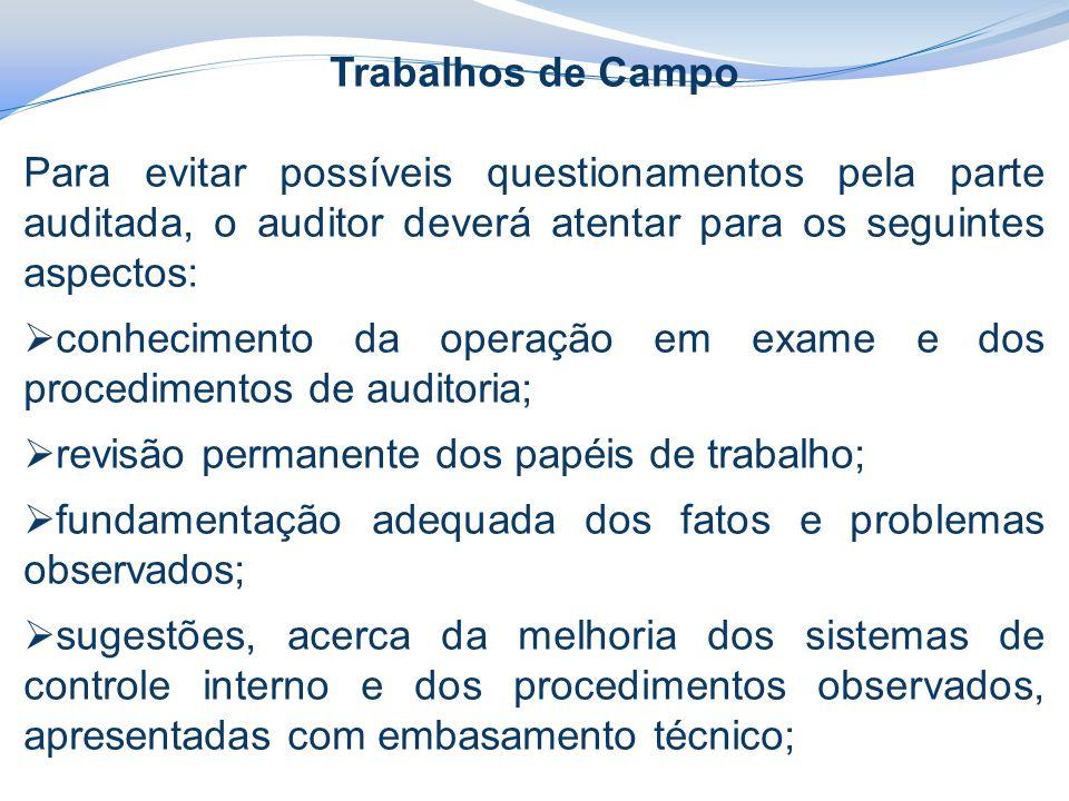 Trabalhos de Campo Para evitar possíveis questionamentos pela parte auditada, o auditor deverá atentar para os seguintes aspectos: