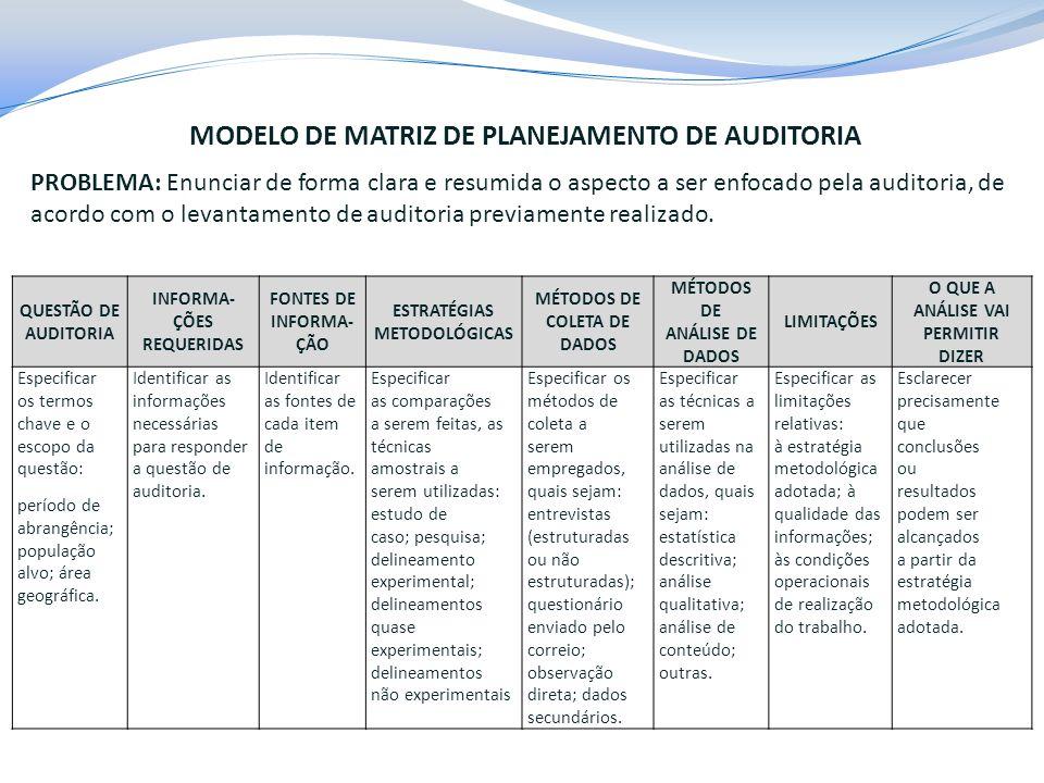 MODELO DE MATRIZ DE PLANEJAMENTO DE AUDITORIA