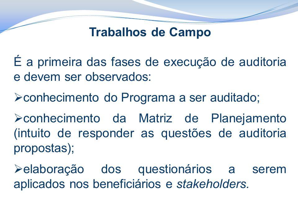 Trabalhos de Campo É a primeira das fases de execução de auditoria e devem ser observados: conhecimento do Programa a ser auditado;
