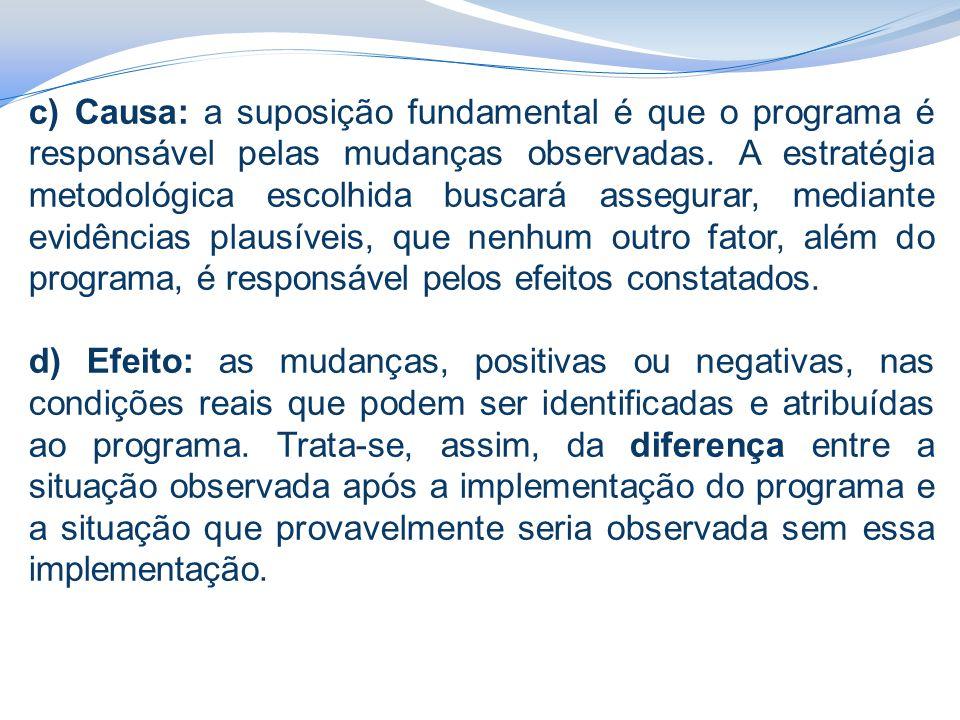 c) Causa: a suposição fundamental é que o programa é responsável pelas mudanças observadas. A estratégia metodológica escolhida buscará assegurar, mediante evidências plausíveis, que nenhum outro fator, além do programa, é responsável pelos efeitos constatados.