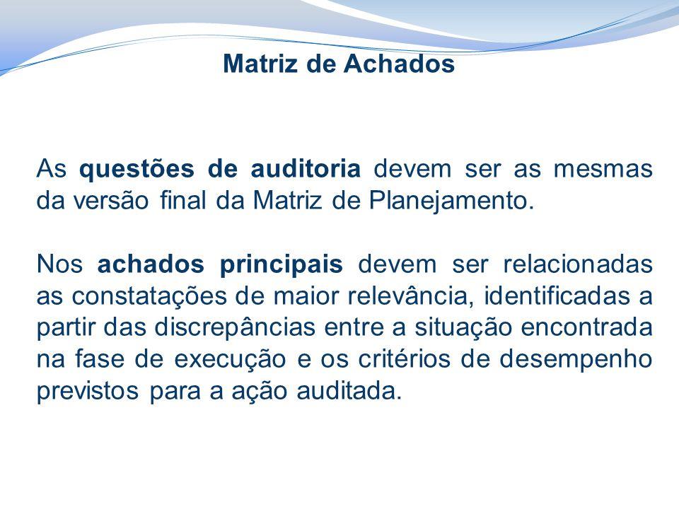 Matriz de Achados As questões de auditoria devem ser as mesmas da versão final da Matriz de Planejamento.