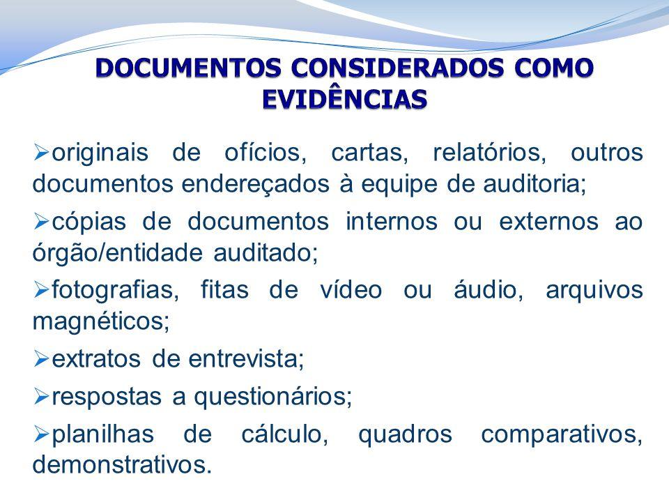 DOCUMENTOS CONSIDERADOS COMO EVIDÊNCIAS