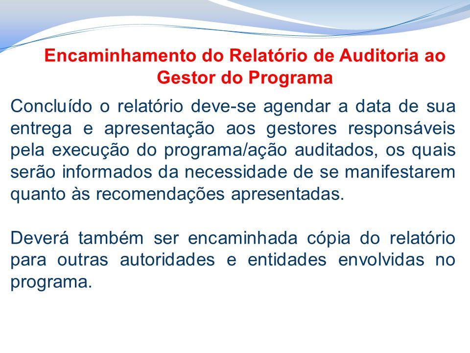 Encaminhamento do Relatório de Auditoria ao Gestor do Programa
