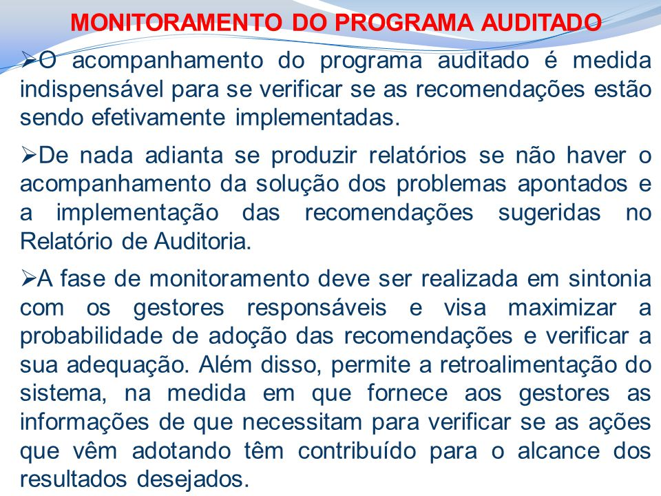 MONITORAMENTO DO PROGRAMA AUDITADO