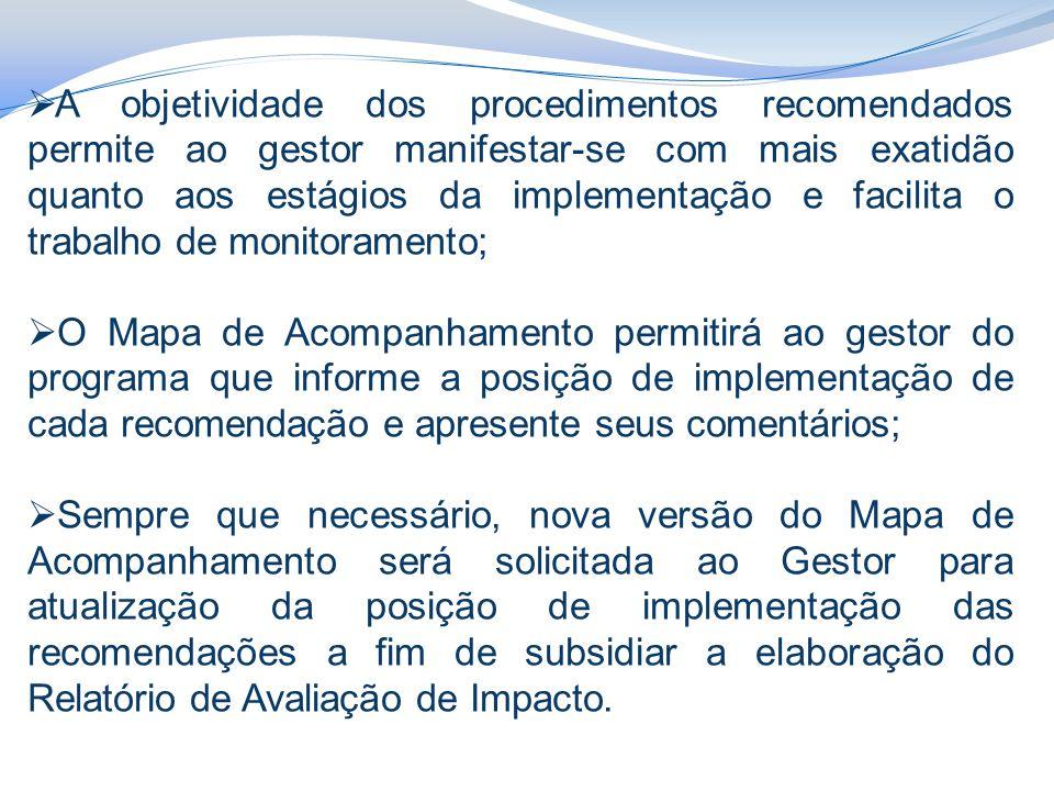 A objetividade dos procedimentos recomendados permite ao gestor manifestar-se com mais exatidão quanto aos estágios da implementação e facilita o trabalho de monitoramento;