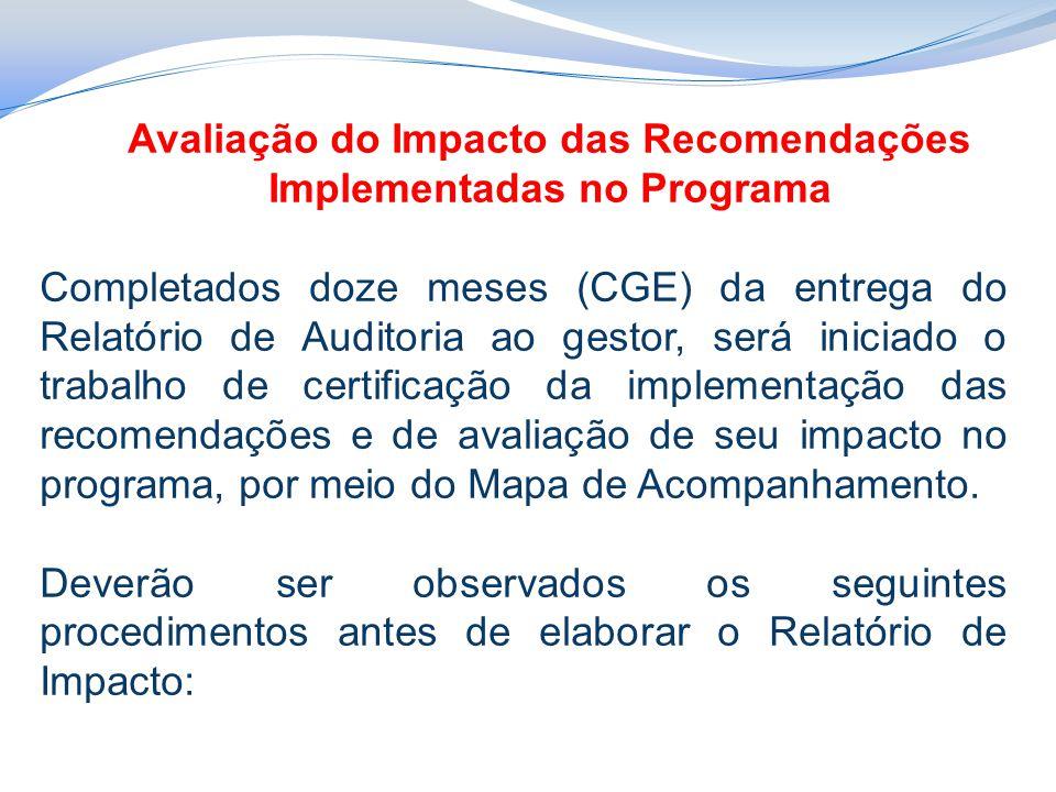 Avaliação do Impacto das Recomendações Implementadas no Programa