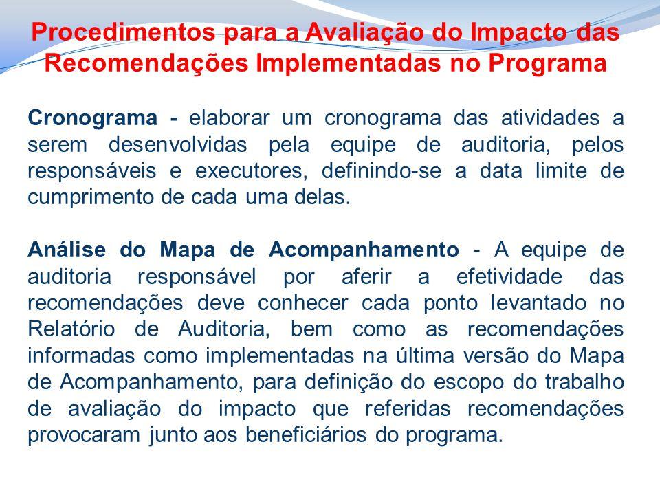 Procedimentos para a Avaliação do Impacto das Recomendações Implementadas no Programa