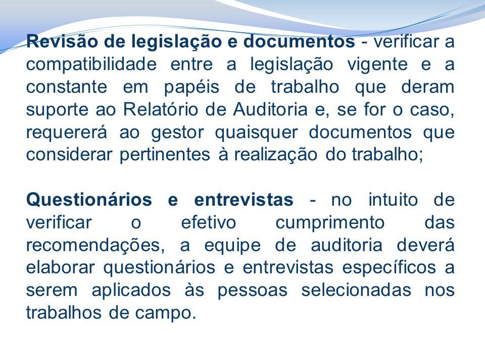 Revisão de legislação e documentos - verificar a compatibilidade entre a legislação vigente e a constante em papéis de trabalho que deram suporte ao Relatório de Auditoria e, se for o caso, requererá ao gestor quaisquer documentos que considerar pertinentes à realização do trabalho;