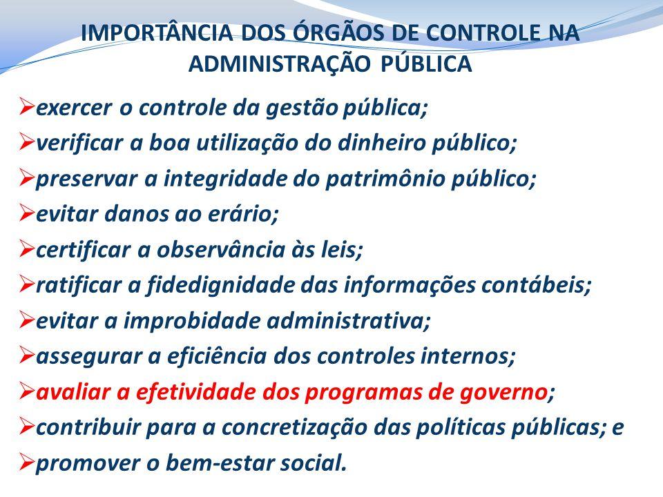 IMPORTÂNCIA DOS ÓRGÃOS DE CONTROLE NA ADMINISTRAÇÃO PÚBLICA