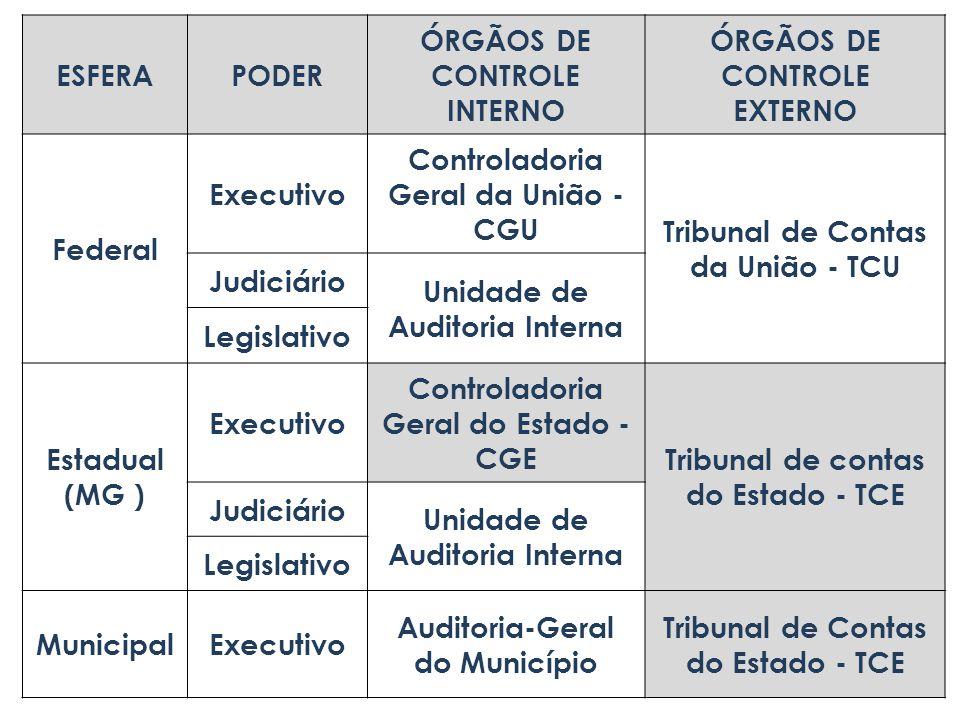 ÓRGÃOS DE CONTROLE INTERNO ÓRGÃOS DE CONTROLE EXTERNO