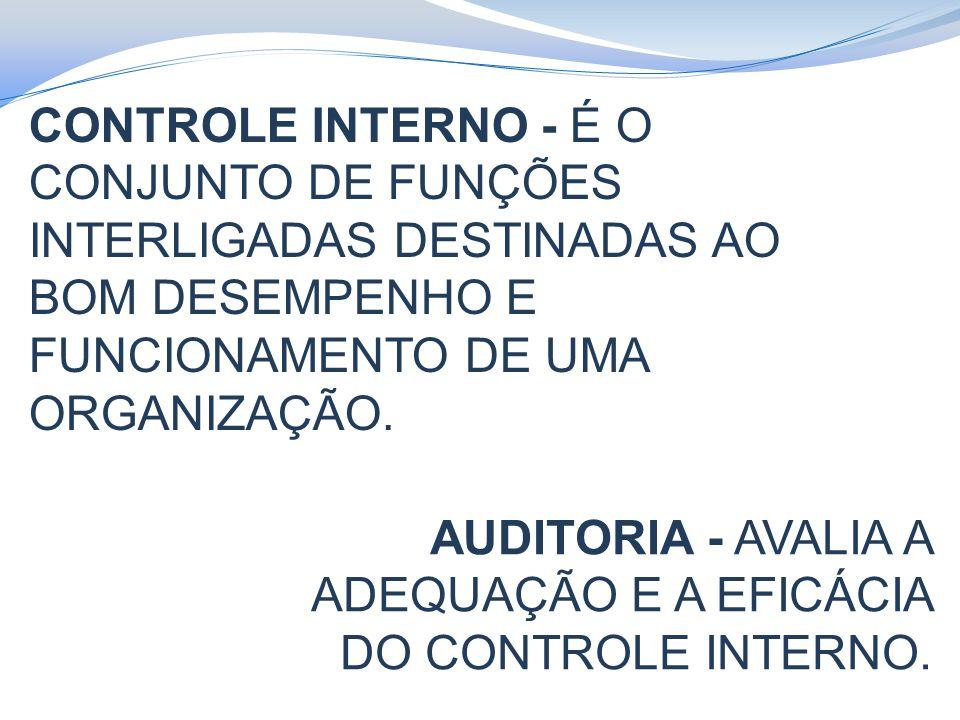 CONTROLE INTERNO - É O CONJUNTO DE FUNÇÕES INTERLIGADAS DESTINADAS AO BOM DESEMPENHO E FUNCIONAMENTO DE UMA ORGANIZAÇÃO.
