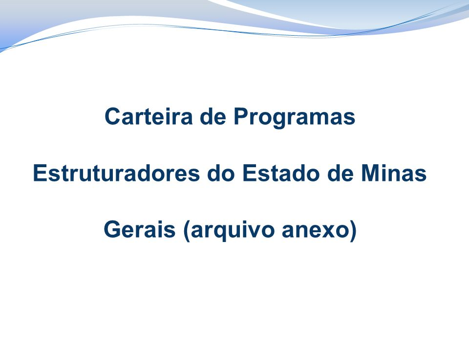 Carteira de Programas Estruturadores do Estado de Minas Gerais (arquivo anexo)