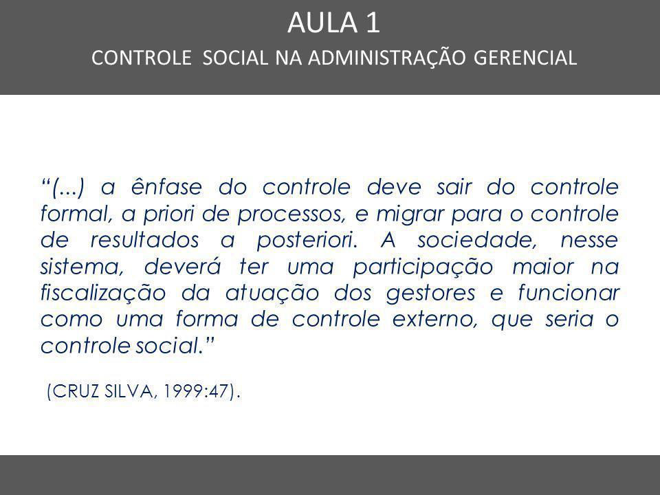 CONTROLE SOCIAL NA ADMINISTRAÇÃO GERENCIAL