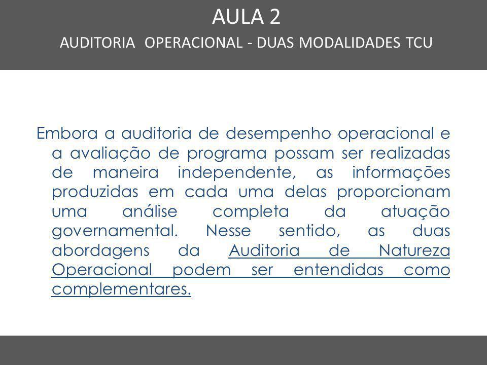 AUDITORIA OPERACIONAL - DUAS MODALIDADES TCU