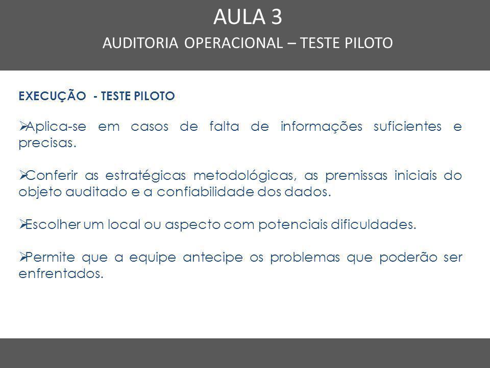 AUDITORIA OPERACIONAL – TESTE PILOTO