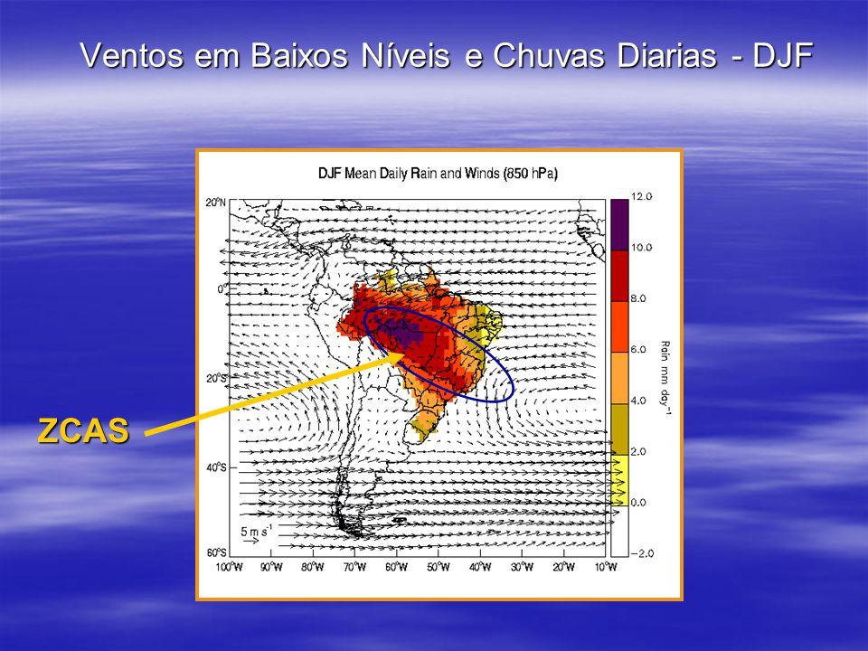 Ventos em Baixos Níveis e Chuvas Diarias - DJF