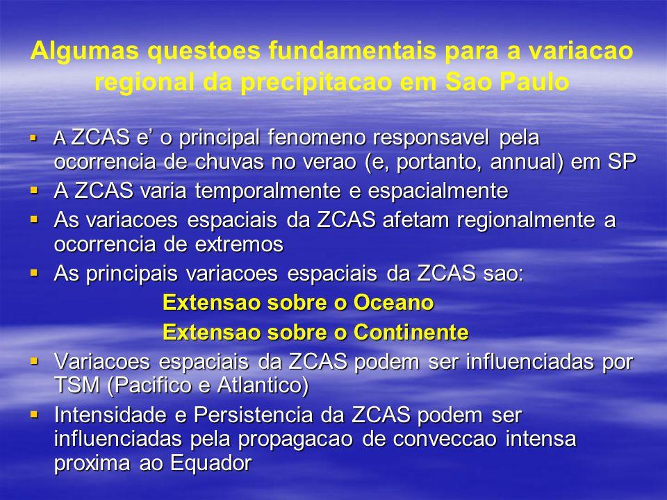 Algumas questoes fundamentais para a variacao regional da precipitacao em Sao Paulo