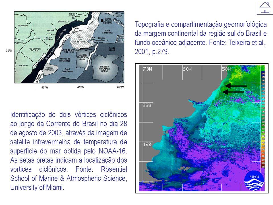 Topografia e compartimentação geomorfológica da margem continental da região sul do Brasil e fundo oceânico adjacente. Fonte: Teixeira et al., 2001, p.279.