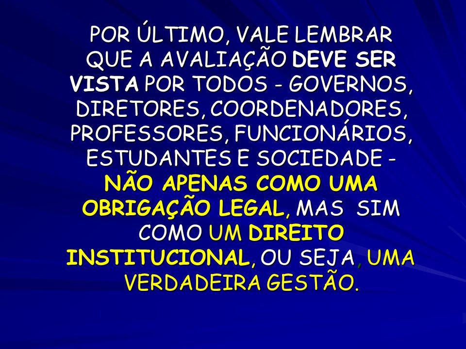 POR ÚLTIMO, VALE LEMBRAR QUE A AVALIAÇÃO DEVE SER VISTA POR TODOS - GOVERNOS, DIRETORES, COORDENADORES, PROFESSORES, FUNCIONÁRIOS, ESTUDANTES E SOCIEDADE - NÃO APENAS COMO UMA OBRIGAÇÃO LEGAL, MAS SIM COMO UM DIREITO INSTITUCIONAL, OU SEJA, UMA VERDADEIRA GESTÃO.