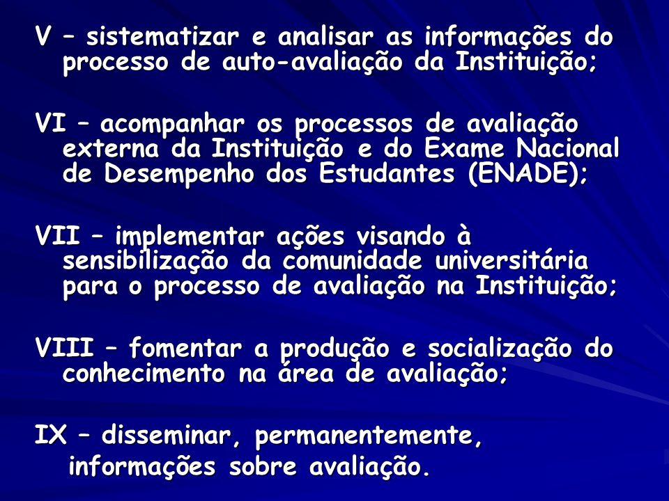 V – sistematizar e analisar as informações do processo de auto-avaliação da Instituição;