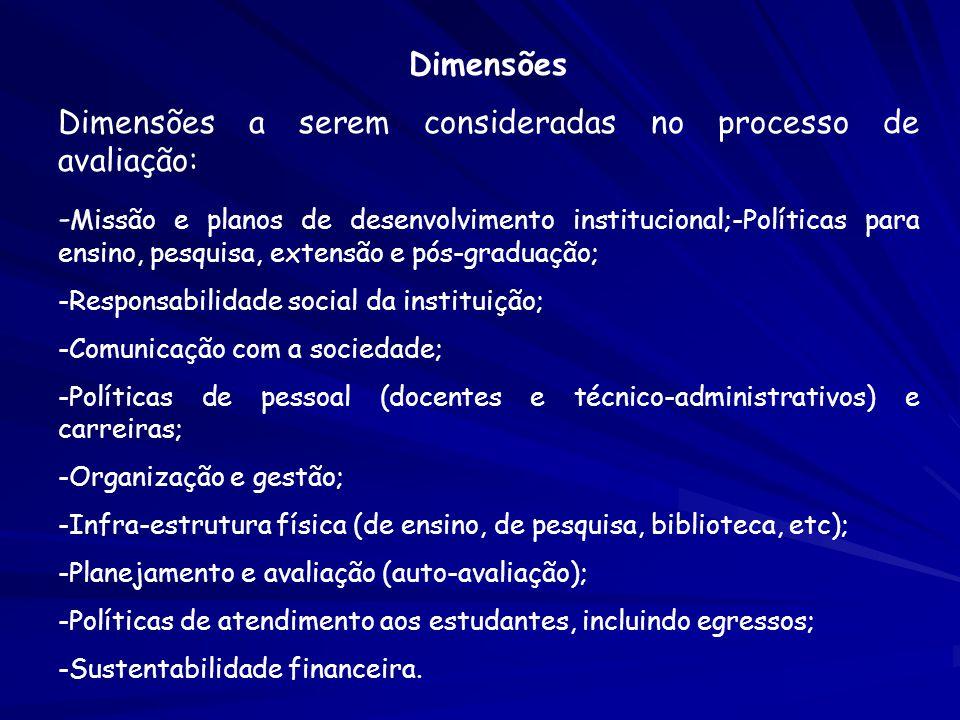 Dimensões a serem consideradas no processo de avaliação: