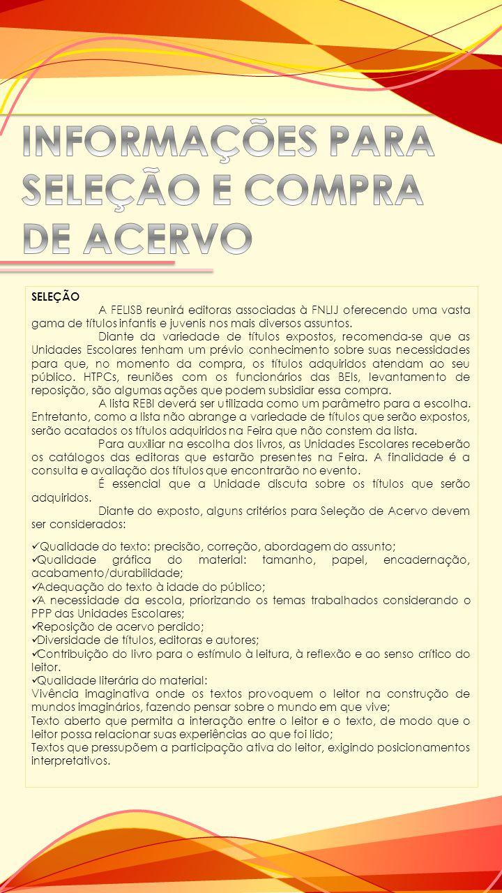 INFORMAÇÕES PARA SELEÇÃO E COMPRA DE ACERVO