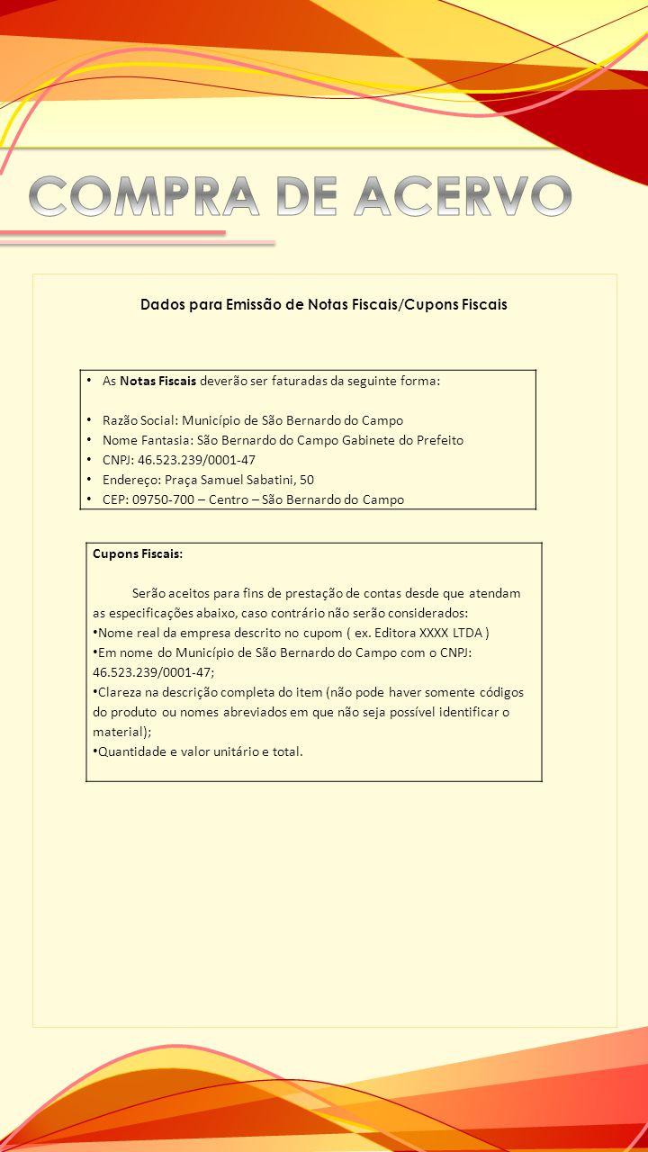 Dados para Emissão de Notas Fiscais/Cupons Fiscais
