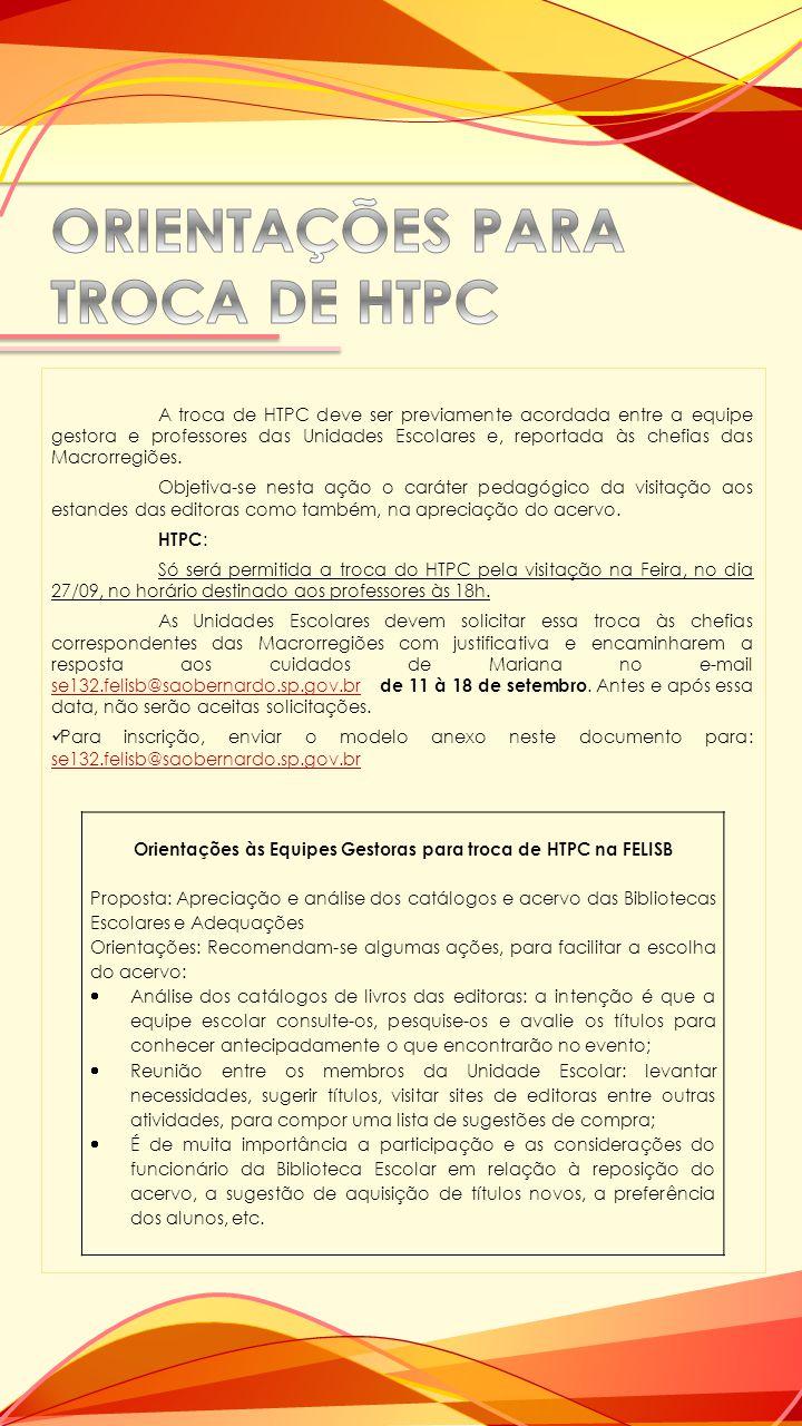 ORIENTAÇÕES PARA TROCA DE HTPC