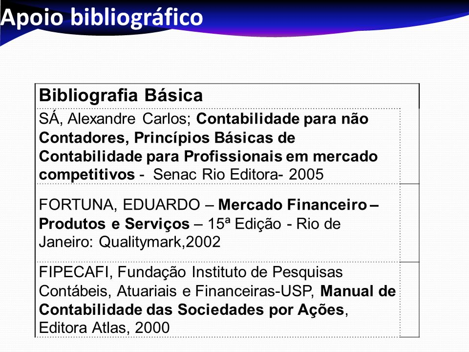 Apoio bibliográfico Bibliografia Básica