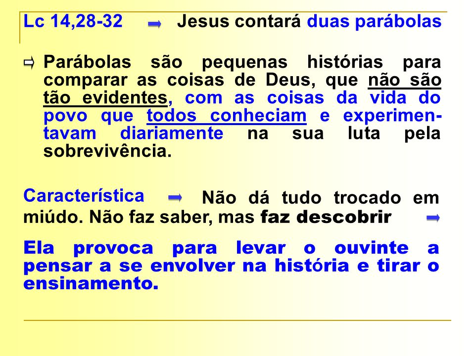 Lc 14,28-32 Jesus contará duas parábolas.