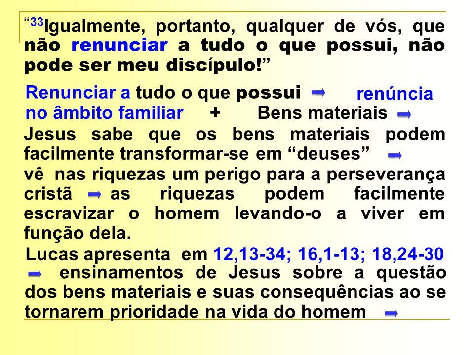 33Igualmente, portanto, qualquer de vós, que não renunciar a tudo o que possui, não pode ser meu discípulo!
