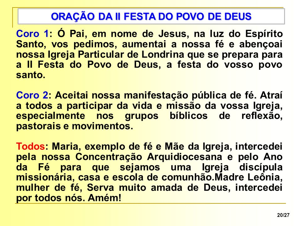 ORAÇÃO DA II FESTA DO POVO DE DEUS