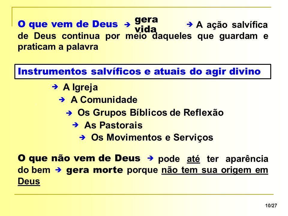 Instrumentos salvíficos e atuais do agir divino